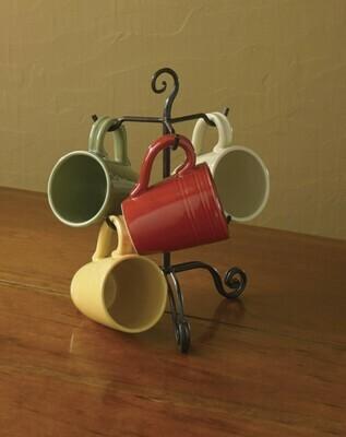 Brown Burl Village Scroll Mug Rack