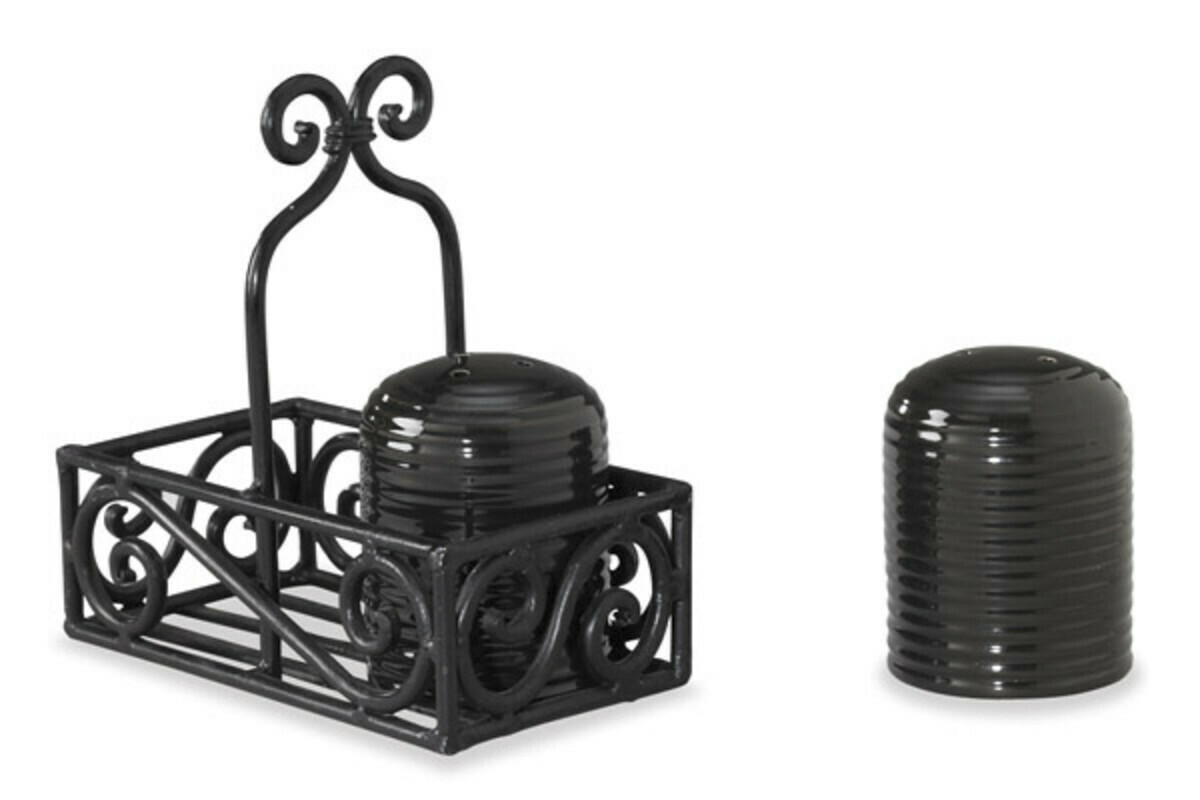 Black Village Salt and Pepper Caddy