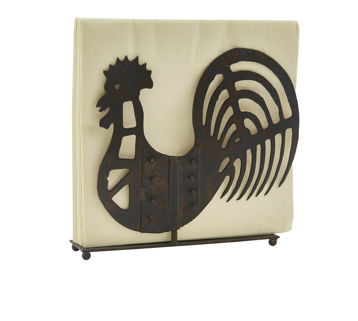 Folk Rooster Lunch Napkin Holder
