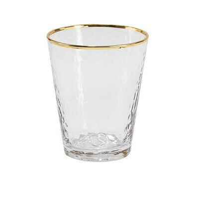 Gold Metallic Rim Double Old Fashioned Glass