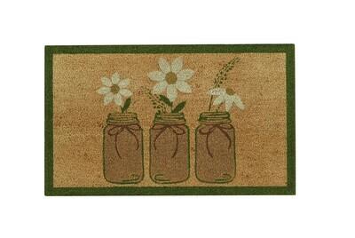 Three Mason Jar Daisies Doormat
