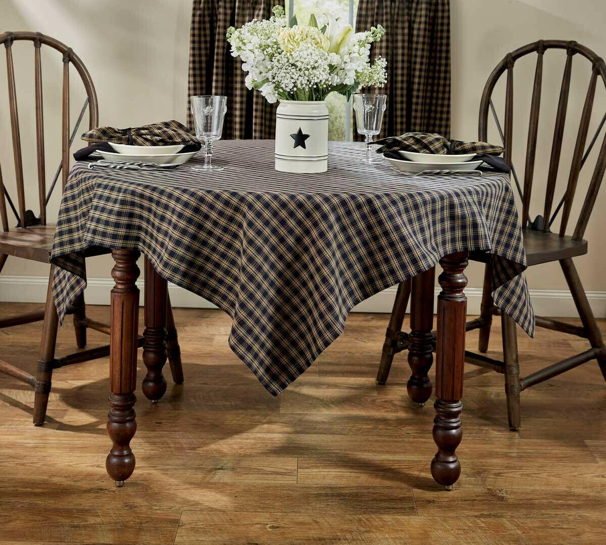 "Black Sturbridge 84"" Tablecloth"