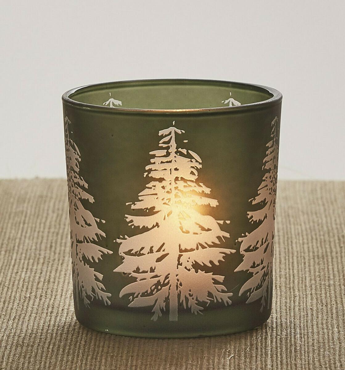 Tree Silhouette Glass Votive Holder