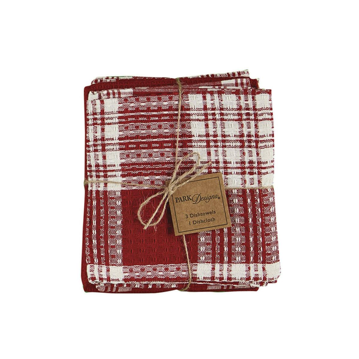 Red Dylan 3 Dishtowel & 1 Dishcloth Set