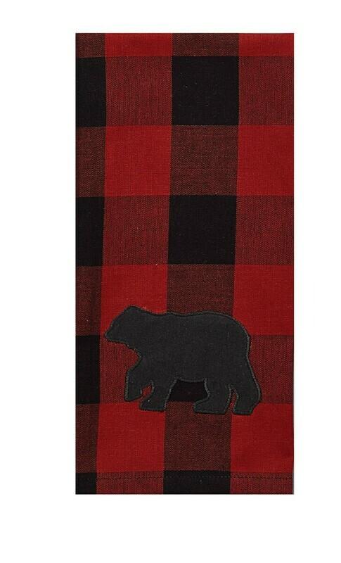 Buffalo Check Bear Applique Decorative Dishtowel