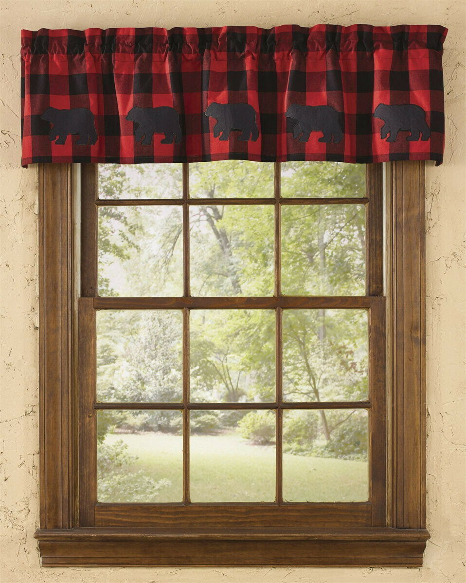 Buffalo Check Bear Applique Lined Valance