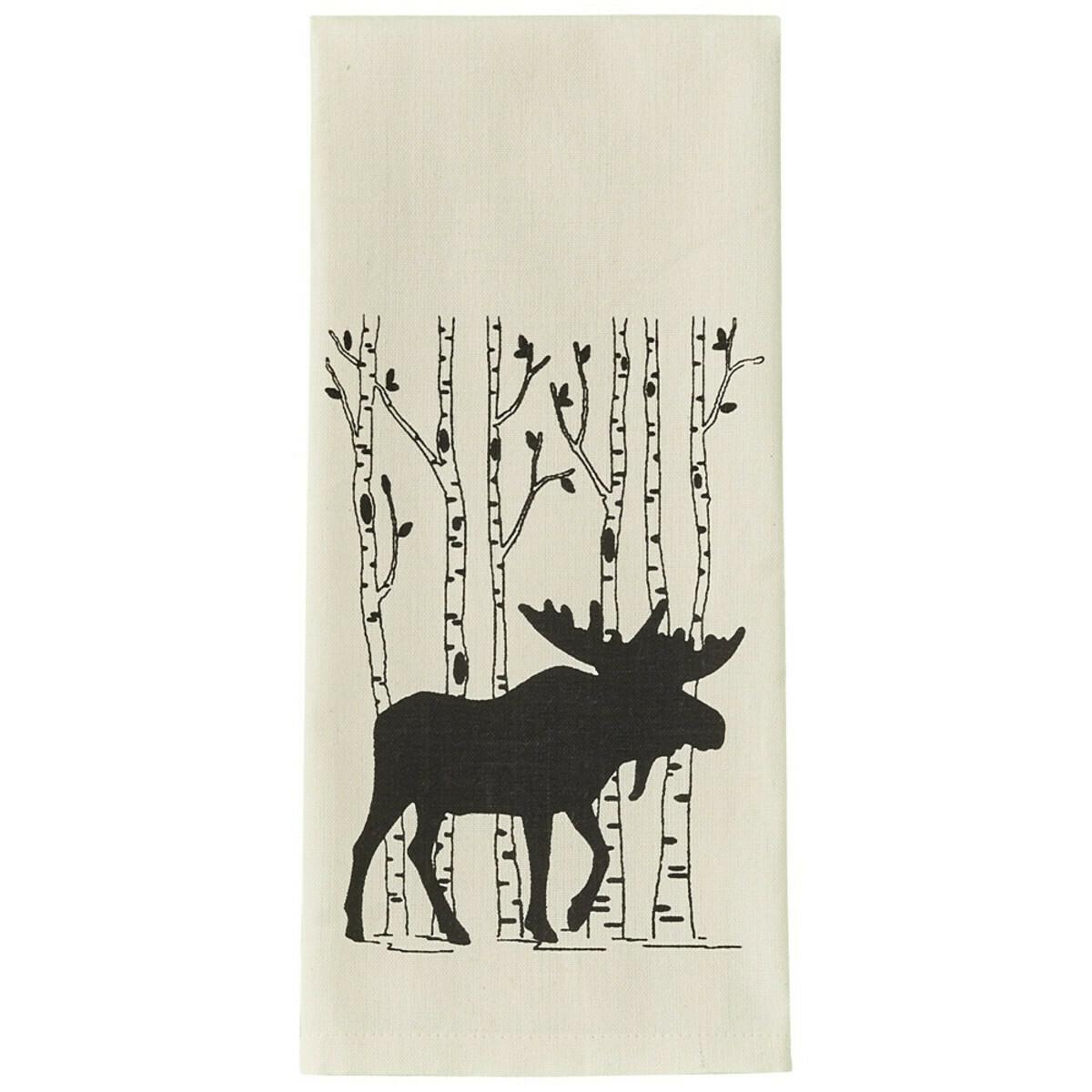 Moose & Birch Tree Printed Dishtowel