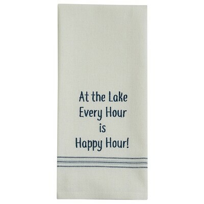 At the Lake Embroidered Sentiment Dishtowel