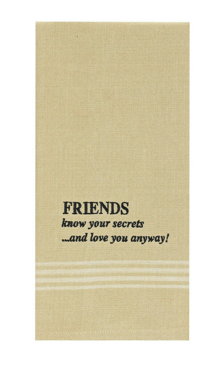 Friends Know Secrets Embroidered Dishtowel