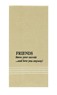 Friends Know Secrets Embroidered Dishtowel
