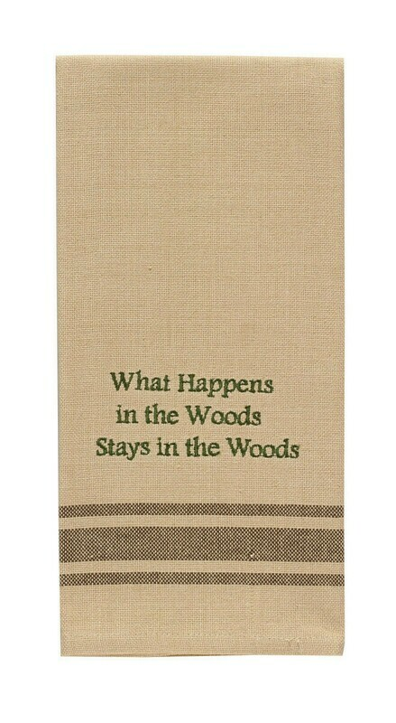 What Happens in the Woods Dishtowel