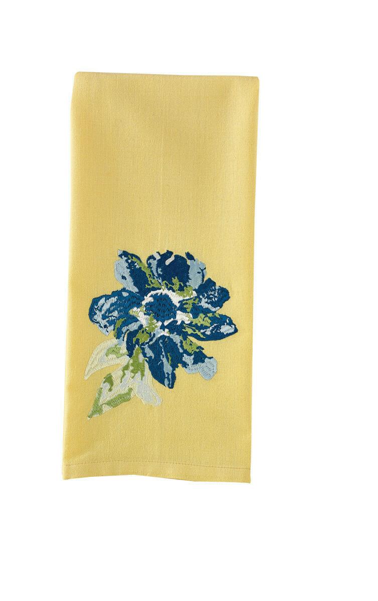 Blue Embroidered Flower Dishtowel