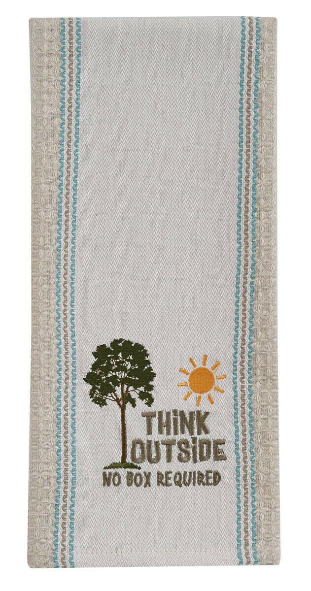 Think Outside Embroidered Dishtowel