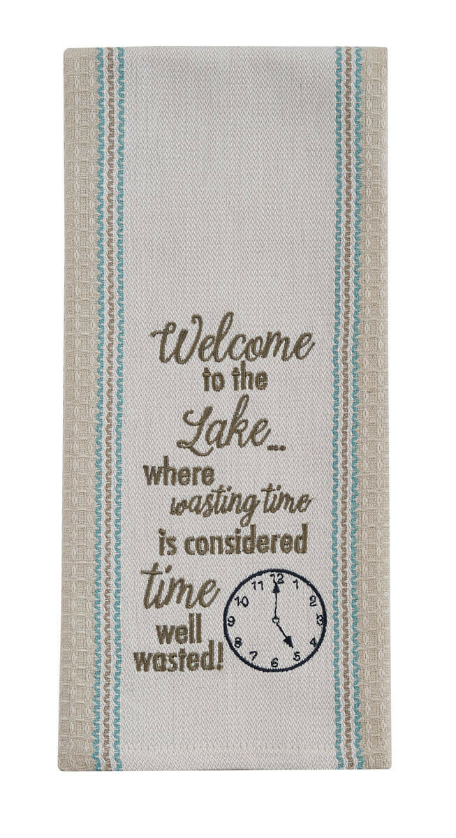 Welcome to the Lake Embroidered Dishtowel