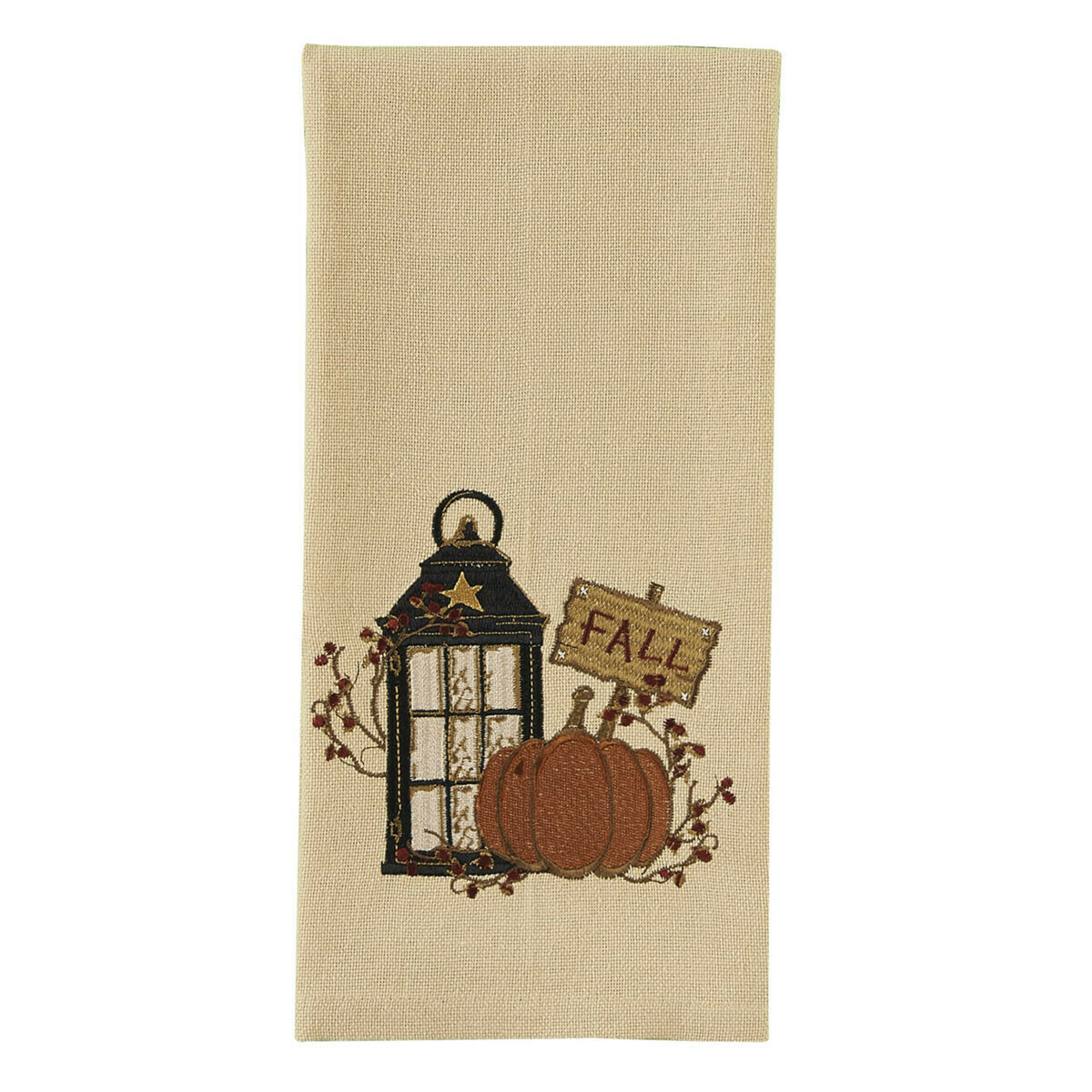 Lantern & Pumpkin Embroidered Dishtowel