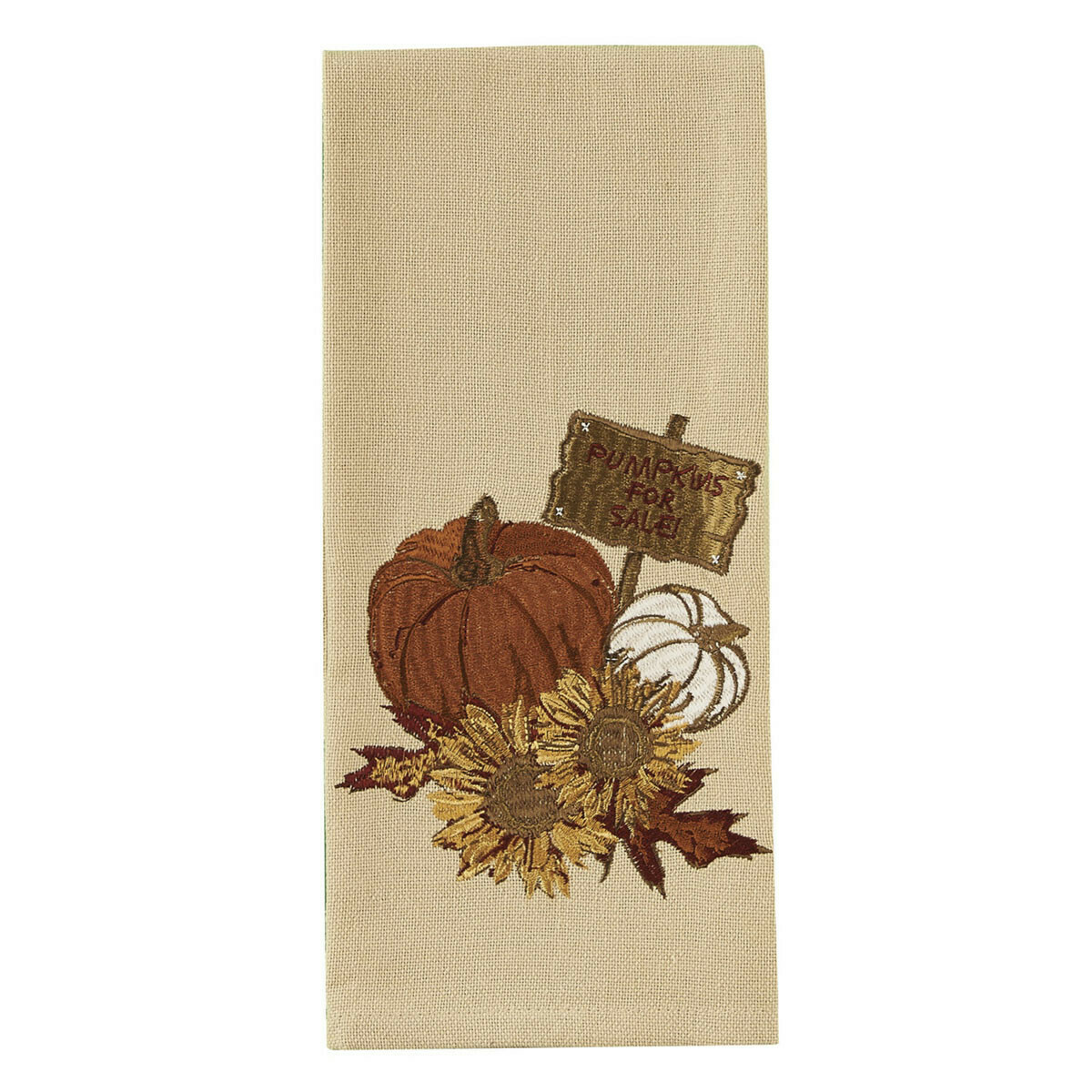Pumpkin Sunflower Embroidered Dishtowel