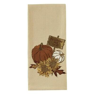 Pumpkin Sunflower Embroidered Dishtowel