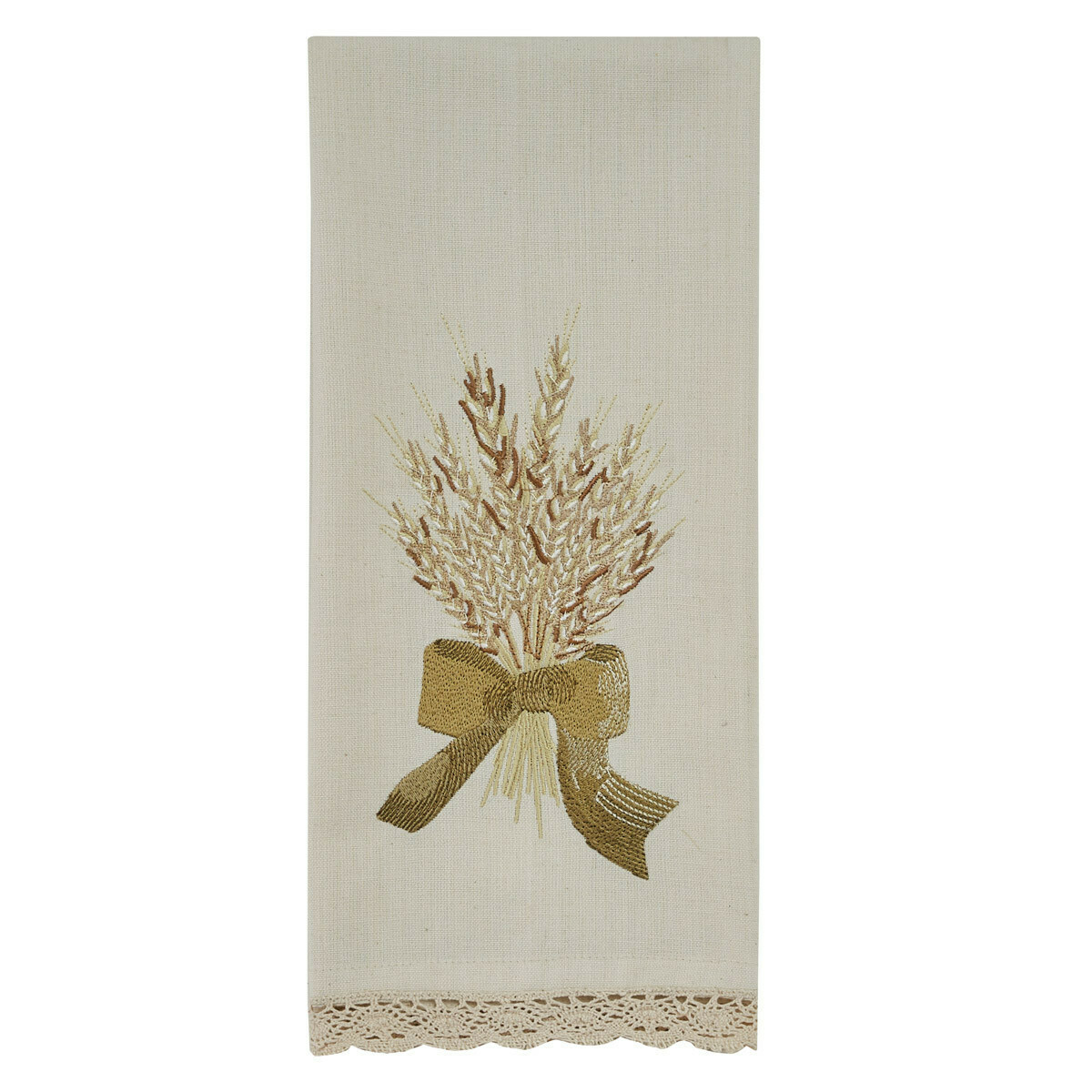 Wheat with Bow Embroidered Dishtowel