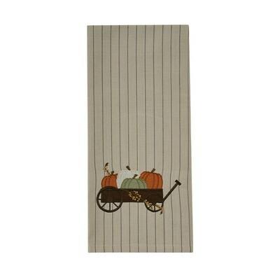 Pumpkin Cart Embroidered Dishtowel