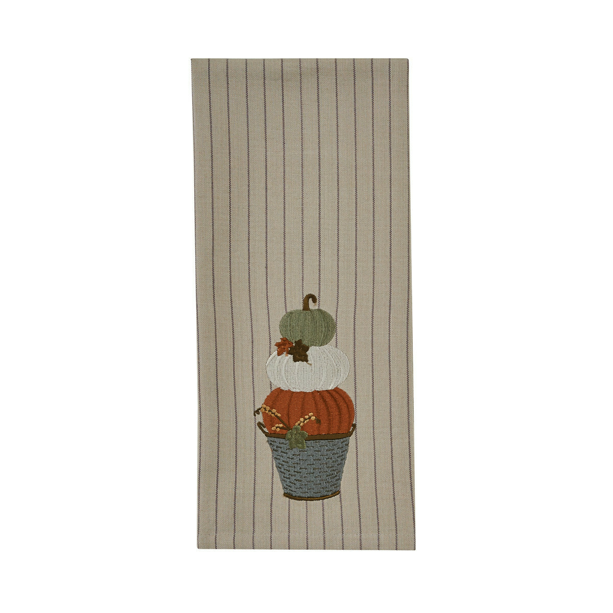 Stacked Pumpkins Embroidered Dishtowel