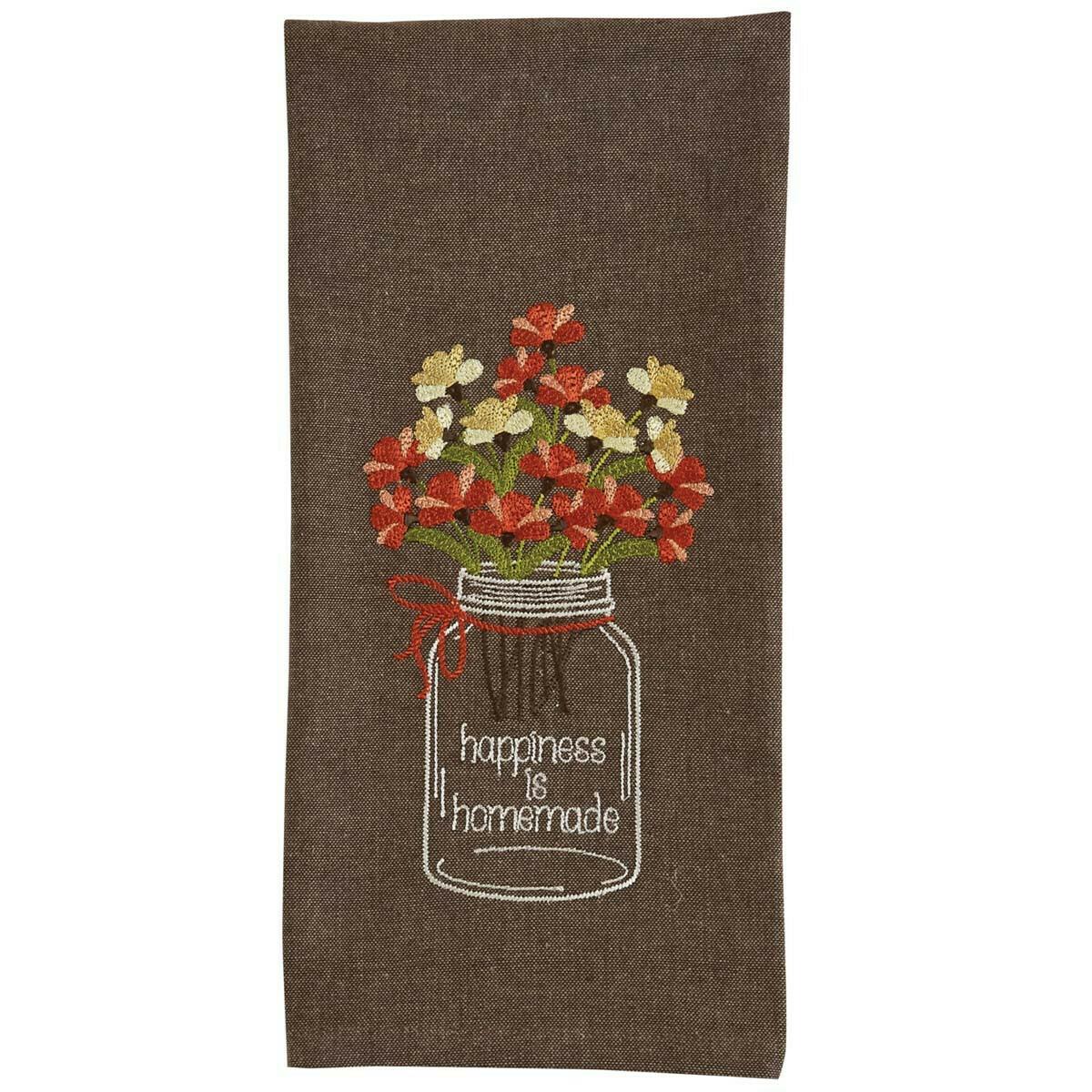Happiness Homemade Mason Jar Embroidered Dishtowel