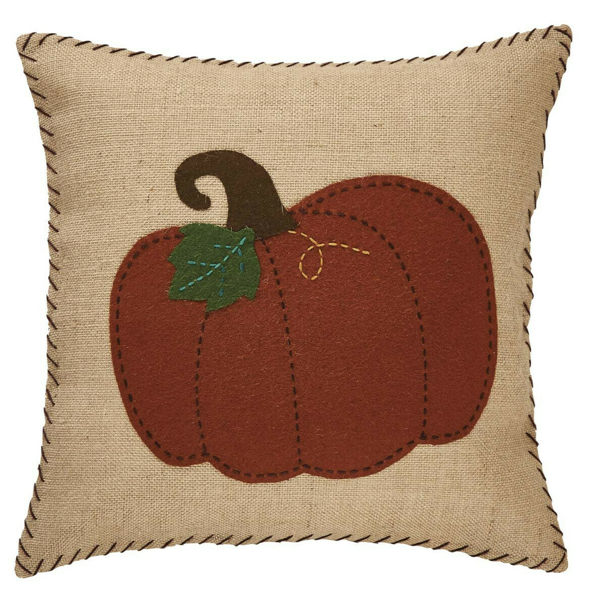 "Pumpkin Burlap & Felt 20"" Pillow"