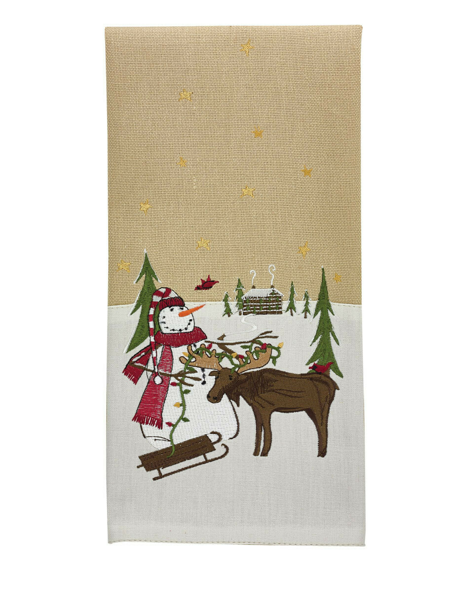 Snowman and Moose Embroidered Dishtowel