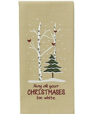 May All Your Christmases Be White Dishtowel