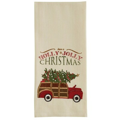 Holly Jolly Woody Embroidered Dishtowel