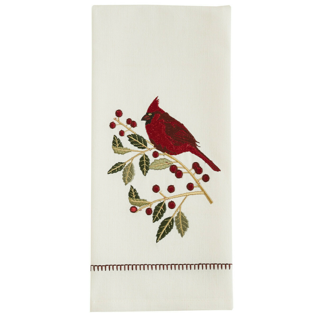 Holly Cardinal Embroidered Dishtowel