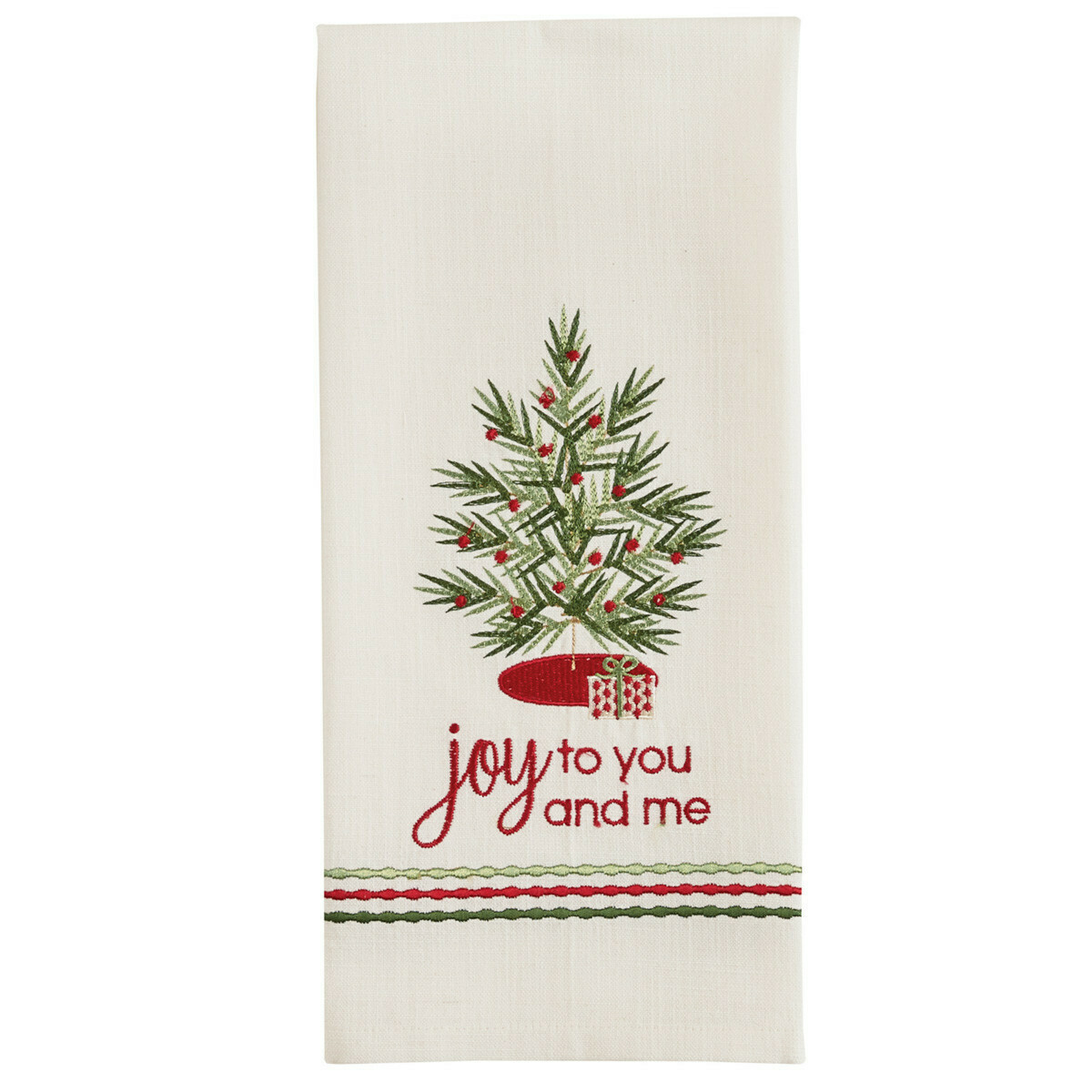 Joy to You and Me Embroidered Dishtowel