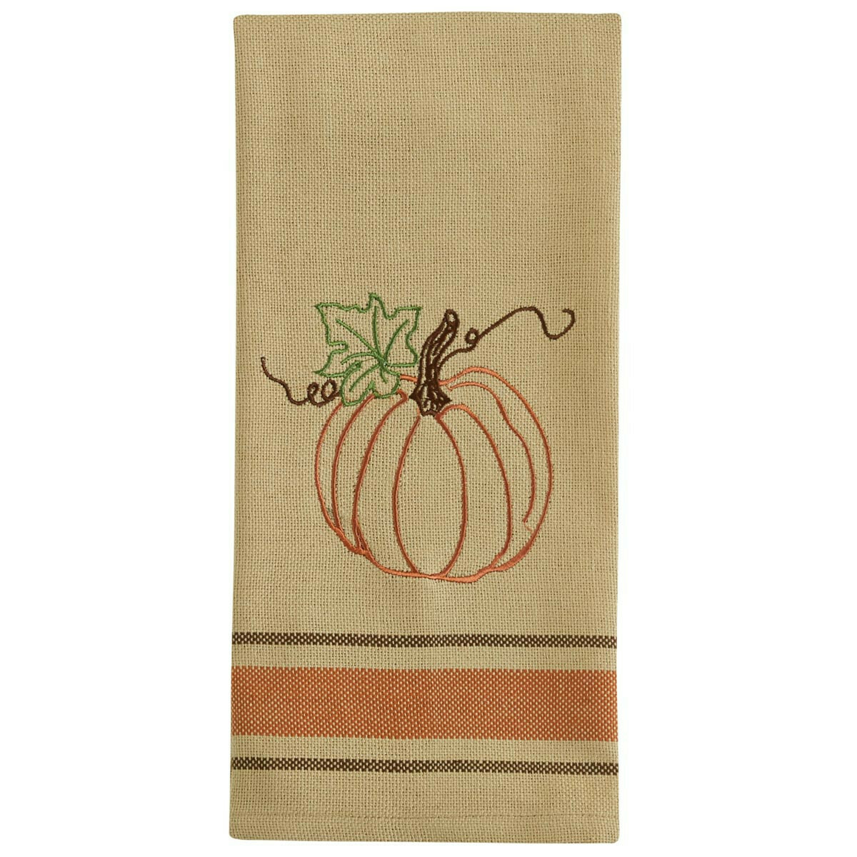 Rustic Pumpkin Embroidered Dishtowel