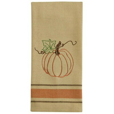 Rustic Pumpkin Embroidered Dishtowel