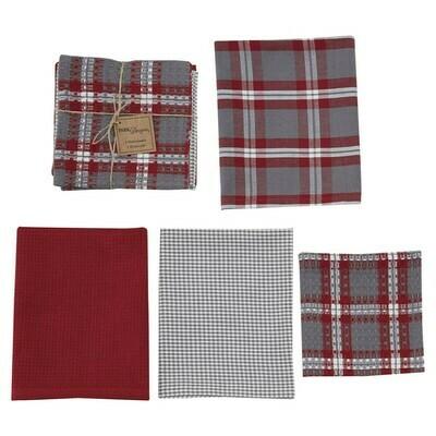 Farmhouse Holiday 3 Dishtowel & 1 Dishcloth Set