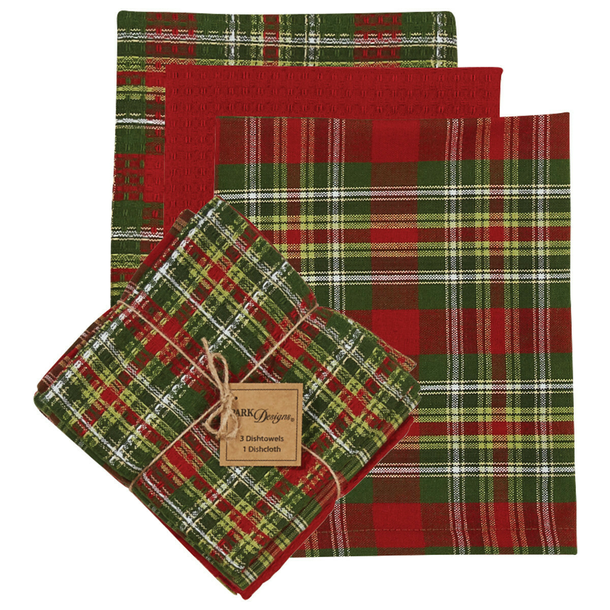 Greenhow Tartan 3 Dishtowel & 1 Dishcloth Set