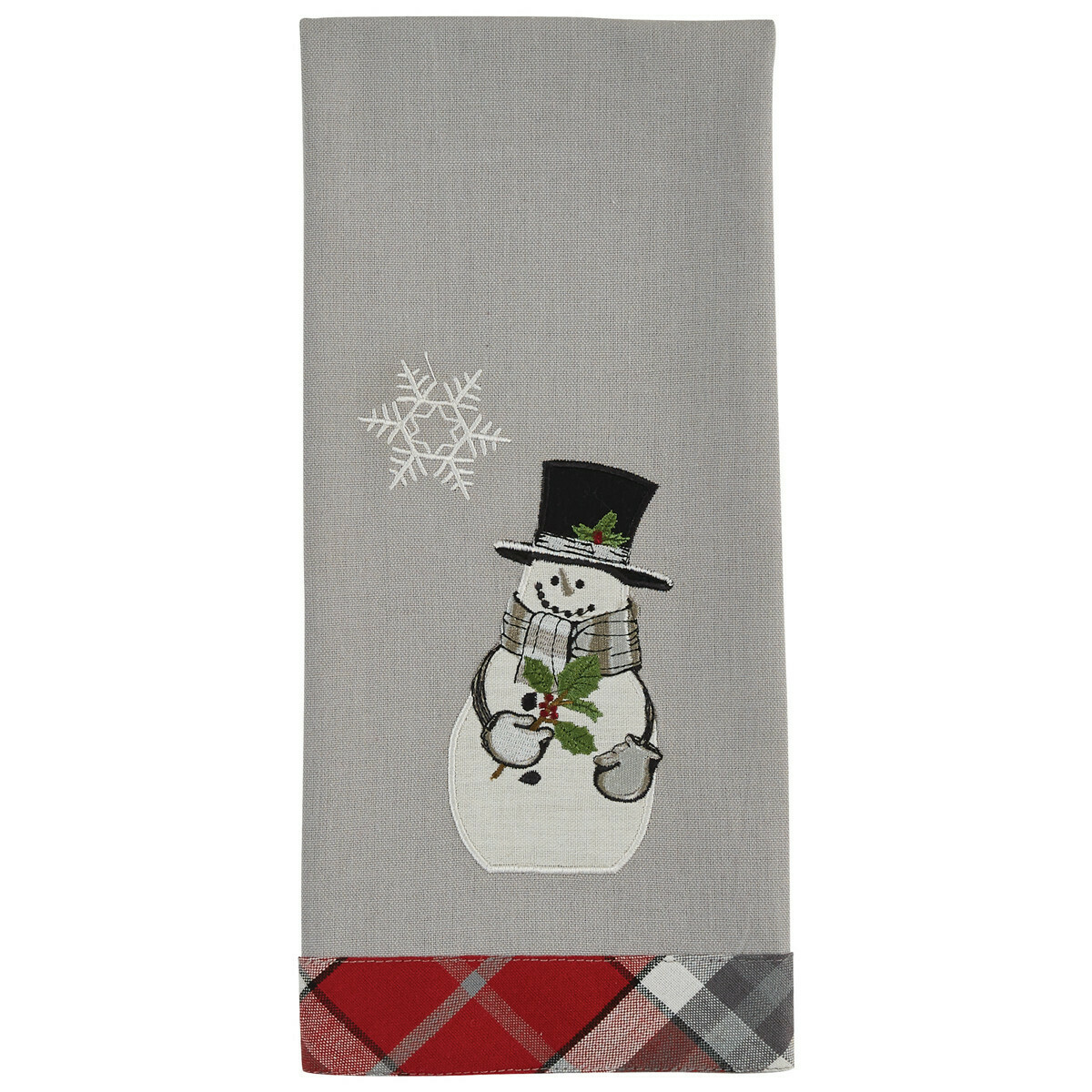 Snowman and Holly Decorative Dishtowel