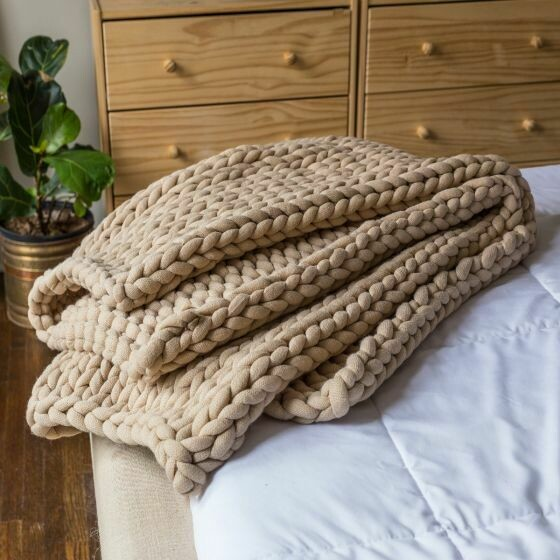 Taupe Chunky Knitted Throw