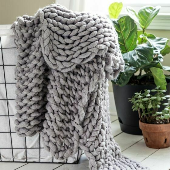 Grey Chunky Knitted Throw