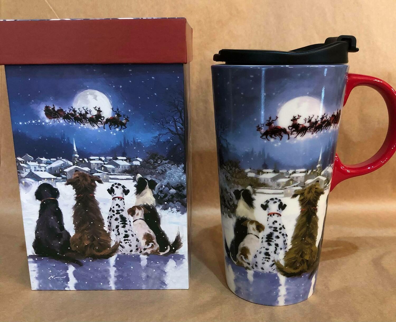 Reindeer Dogs Travel Mug