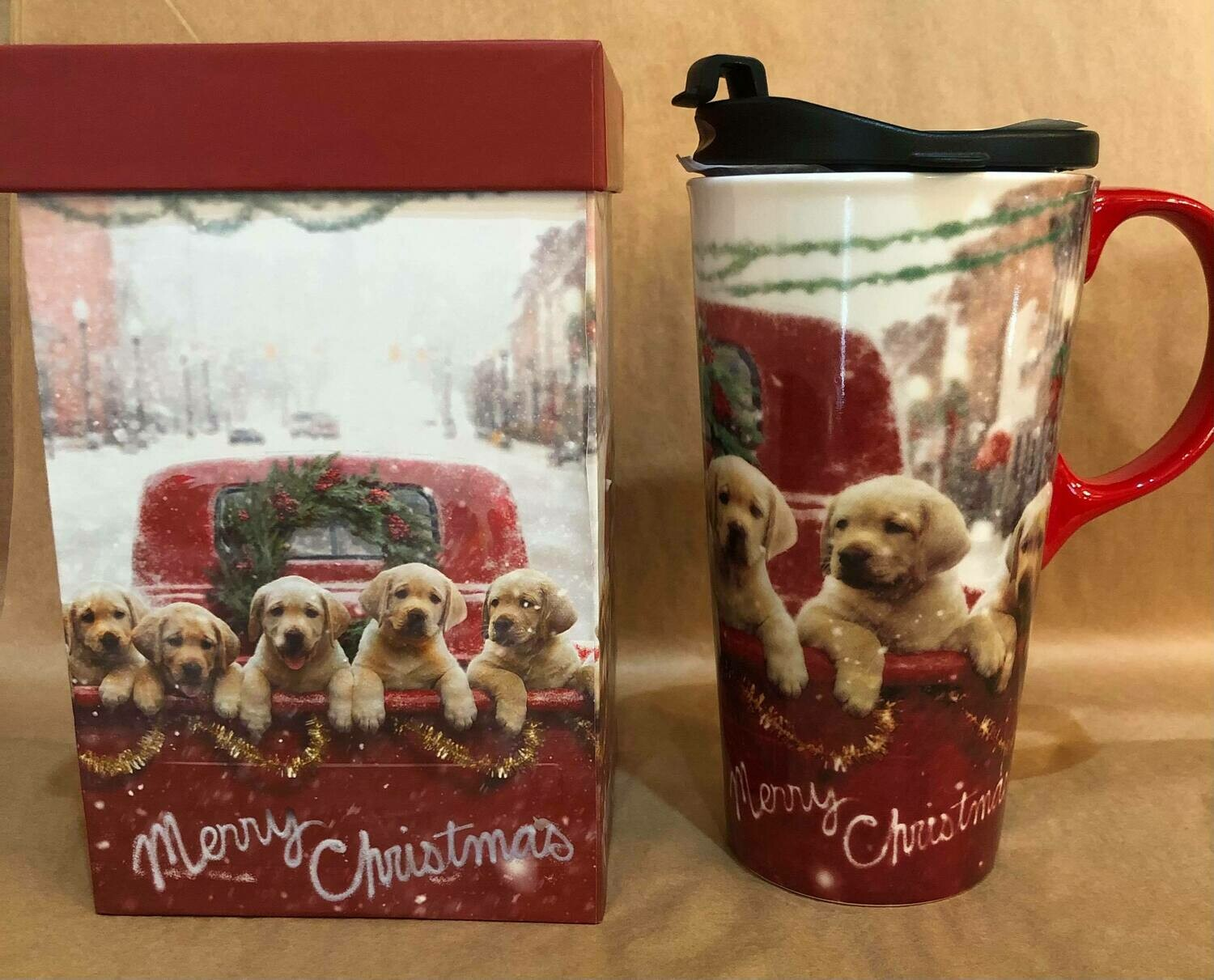 Merry Christmas Puppies Travel Mug