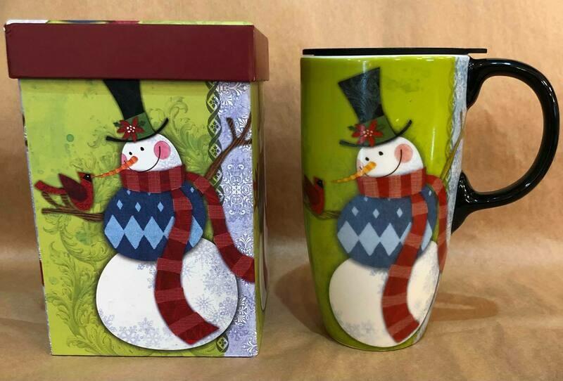 Snowman and Cardinal Travel Mug