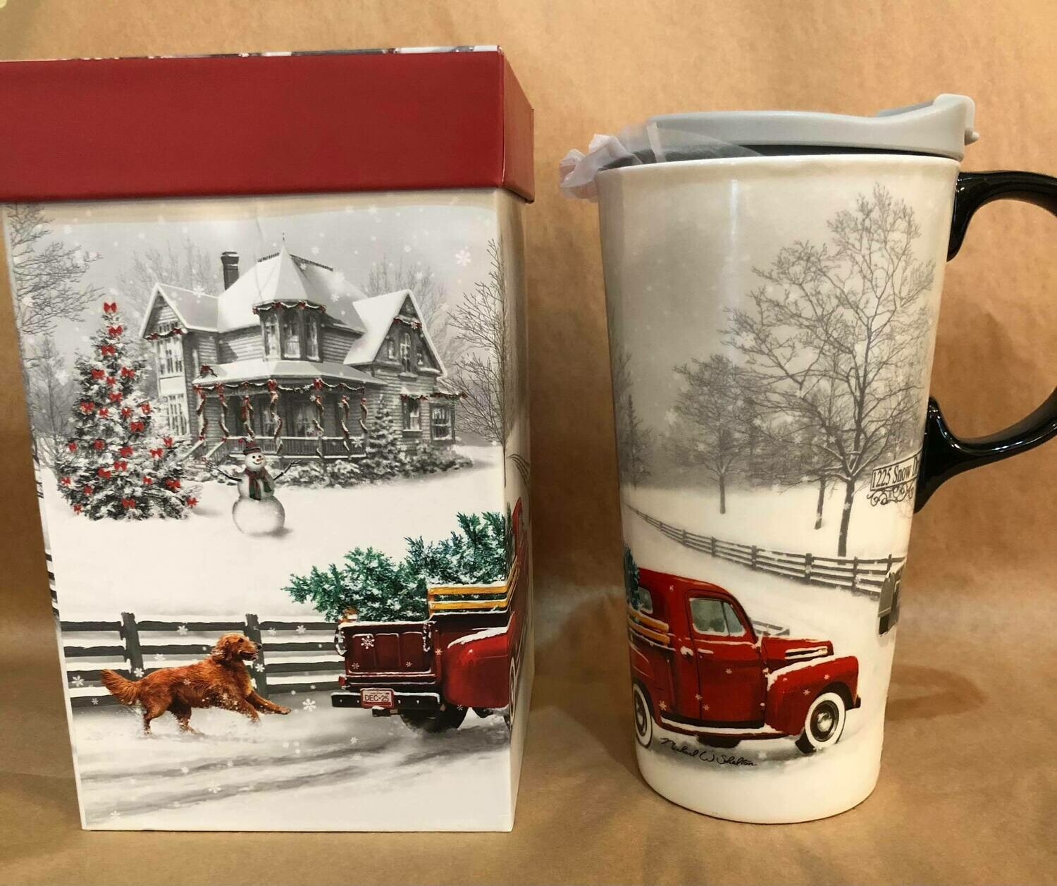 Dog and Red Truck Travel Mug