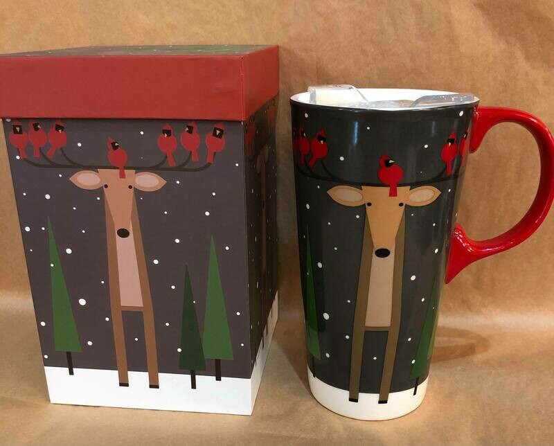 Reindeer and Cardinal Travel Mug