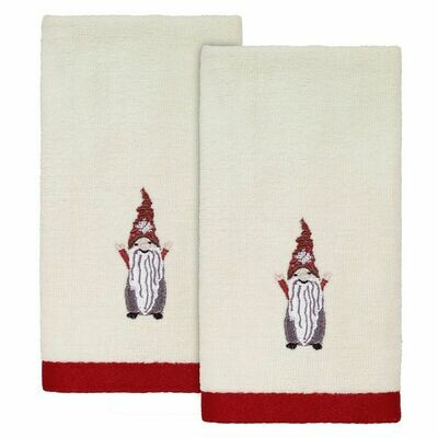 Ivory Christmas Gnomes Fingertip Towels 2 Pack