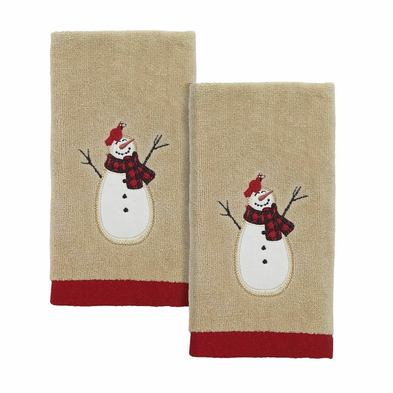 Tan Snowmen Gathering Fingertip Towels 2 Pack
