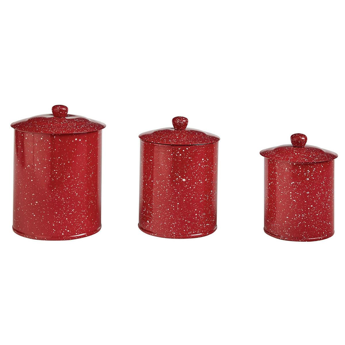 Granite Enamelware Red Canister Set