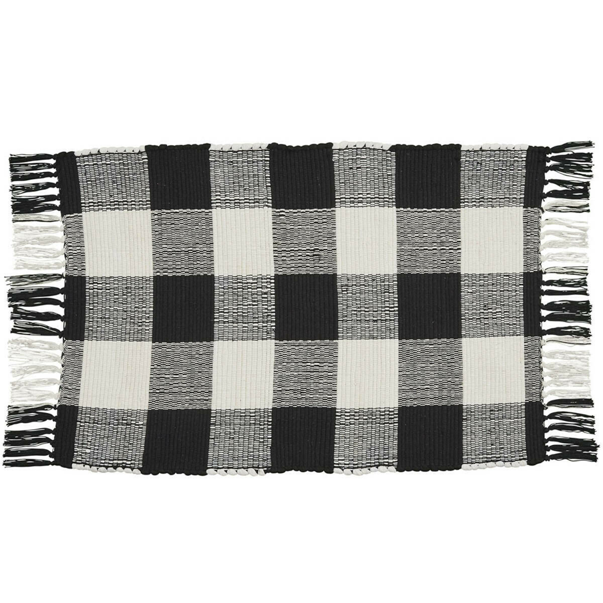 Wicklow Check Black & Cream 2'X3' Rag Rug