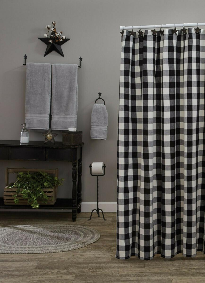 Wicklow Check Black & Cream Shower Curtain