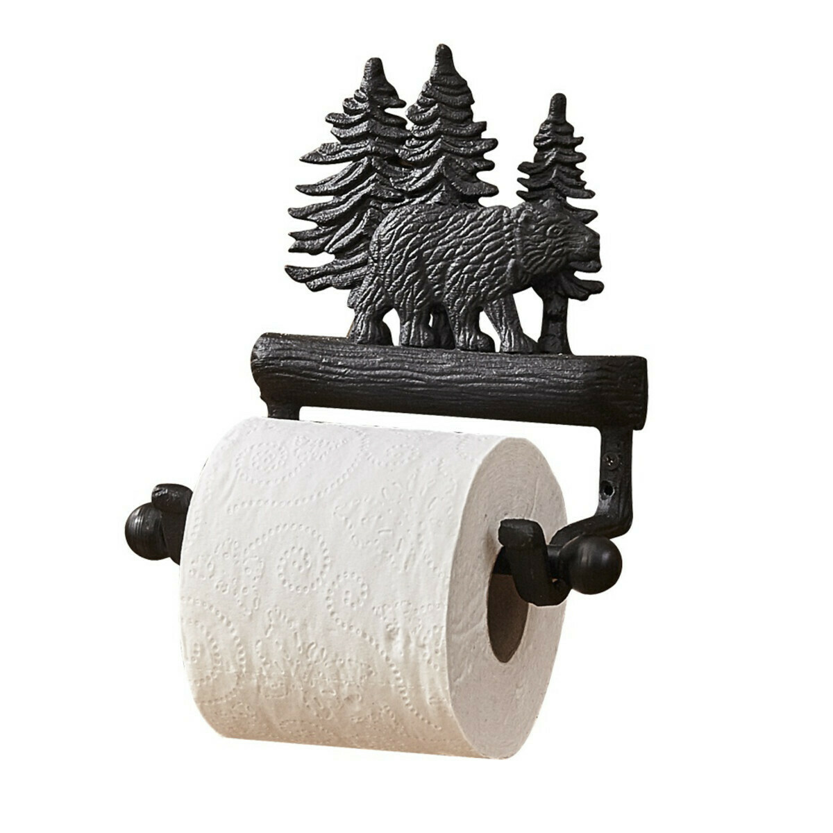 Cast Black Bear Toilet Tissue Holder