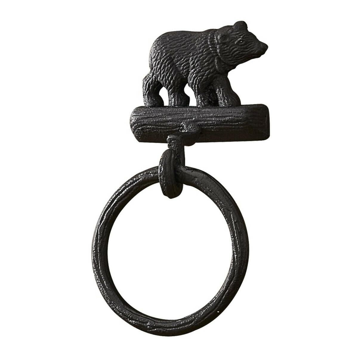 Cast Black Bear Towel Ring Hook
